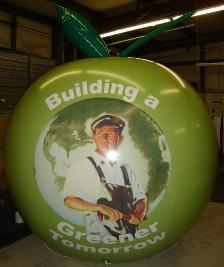 giant balloon with Greener Tomorrow logo